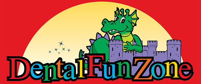 Dental Fun Zone logo_color_red_background